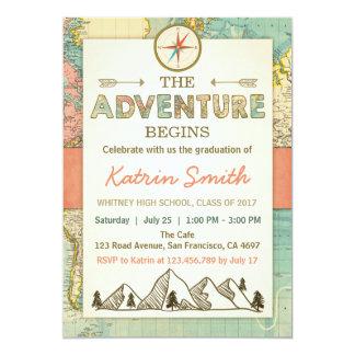 Tarjeta La aventura aguarda el mapa del viaje de la