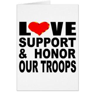 Tarjeta La ayuda del amor y honra a nuestras tropas