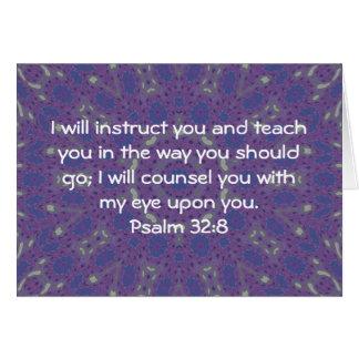 Tarjeta La biblia versifica 32:8 inspirado del salmo de la