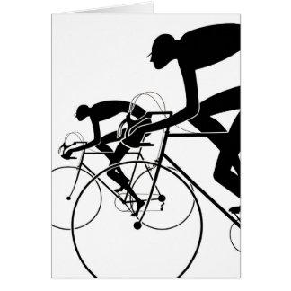 Tarjeta La bicicleta retra siluetea 2 1986