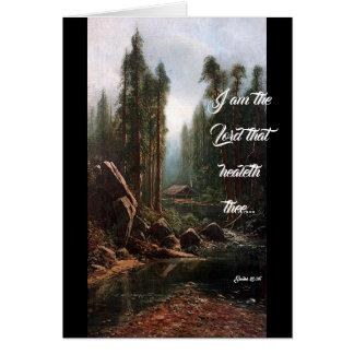 Tarjeta La cabina en dios de la corriente de los árboles