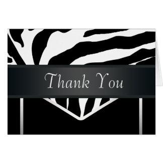 Tarjeta La cebra elegante negra de plata le agradece