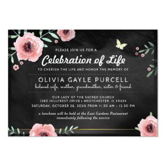 Tarjeta La celebración de la vida invita a rosa y a floral
