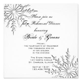 Tarjeta La cena del ensayo del boda del invierno del copo