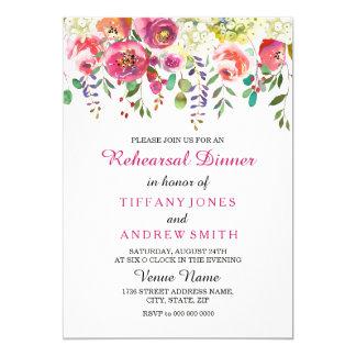 Tarjeta La cena del ensayo del boda del rosa de la flor de