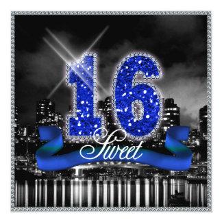 Tarjeta La ciudad enciende el dulce dieciséis ID118 azul