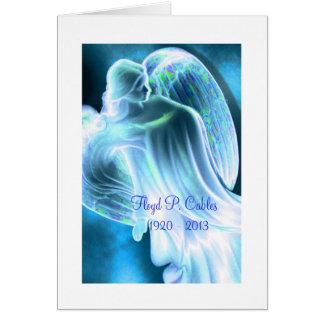 Tarjeta La condolencia del ángel azul le agradece cardar