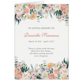 Tarjeta La condolencia fúnebre de los rosas de la acuarela