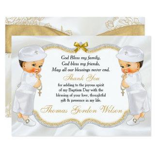 Tarjeta La cruz gemela del oro del bautismo de los bebés