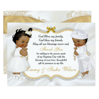Tarjeta La cruz gemela del oro del bautismo del muchacho