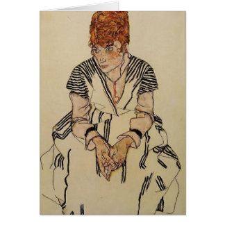 Tarjeta La cuñada del artista de Egon Schiele-