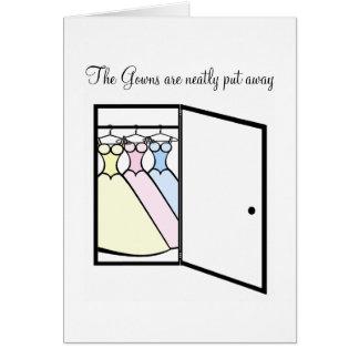 Tarjeta La dama de honor le agradece - armario de vestidos