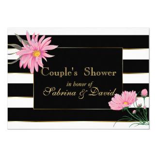 Tarjeta La ducha del par floral del rosa elegante de las