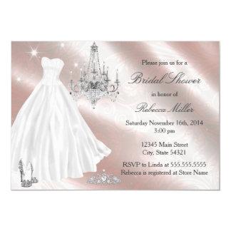 Tarjeta La ducha nupcial bonita del vestido de boda invita