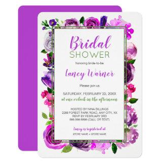 Tarjeta La ducha nupcial de la mezcla floral púrpura de la