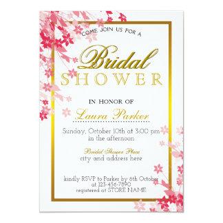 Tarjeta La ducha nupcial del brillo floral rosado del oro