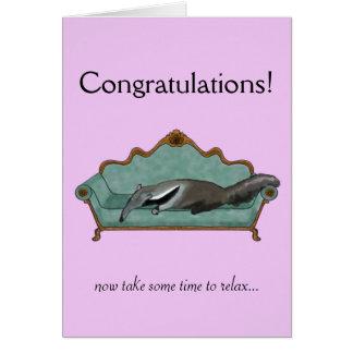 Tarjeta La enhorabuena carda con el Anteater lindo
