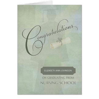 Tarjeta La enhorabuena gradúa grado de oficio de enfermera
