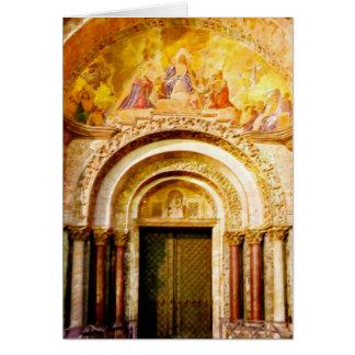 Tarjeta La entrada de la basílica de San Marcos en Venecia