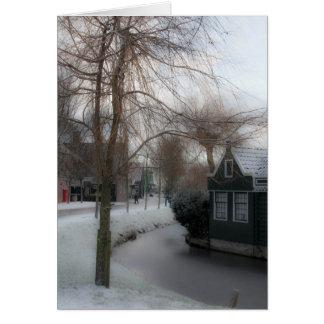 Tarjeta La escena de un invierno, Zaanse Schans, Países