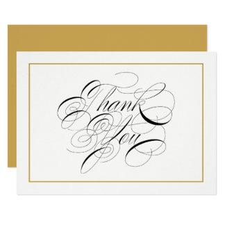 Tarjeta La escritura elegante le agradece frontera del oro