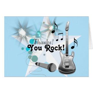 Tarjeta La estrella del rock del muchacho le agradece