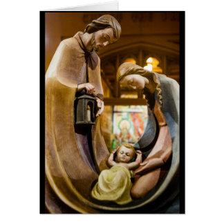 Tarjeta La familia santa en el navidad