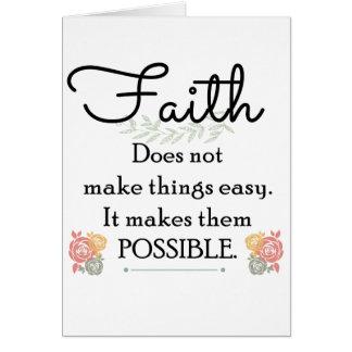 Tarjeta La fe no hace cosas biblia fácil, cristiana