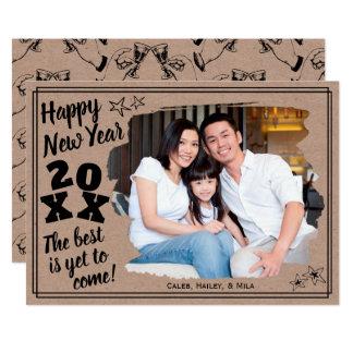 Tarjeta La Feliz Año Nuevo añade un efecto de borde áspero