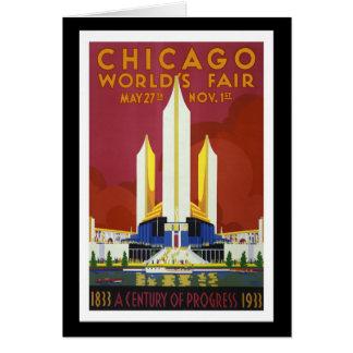 """Tarjeta La """"feria de mundo, Chicago, 1933"""" vintages"""