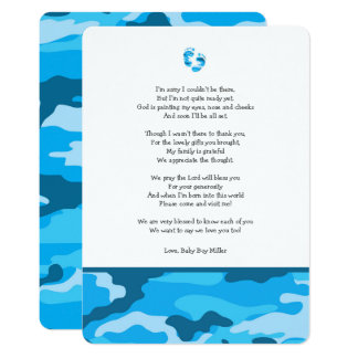 Tarjeta La fiesta de bienvenida al bebé azul de Camo le