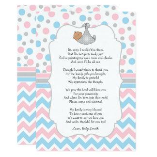 Tarjeta La fiesta de bienvenida al bebé le agradece