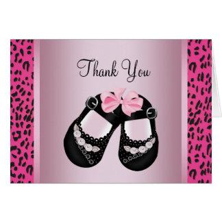 Tarjeta La fiesta de bienvenida al bebé rosada del