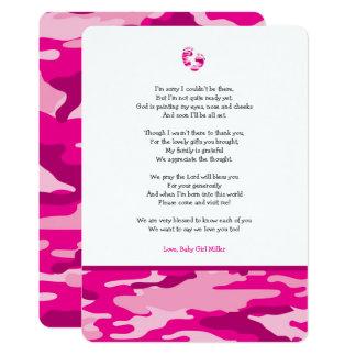 Tarjeta La fiesta de bienvenida al bebé rosada del poema