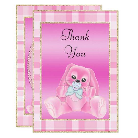 Tarjeta La fiesta de bienvenida al bebé rosada linda del