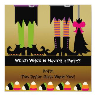 Tarjeta La fiesta de cumpleaños de Halloween de las brujas