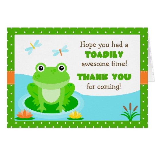 Tarjeta La fiesta de cumpleaños de la rana le agradece