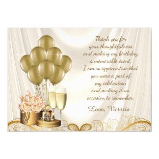 Tarjeta La fiesta de cumpleaños de marfil del oro de la