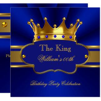 Tarjeta La fiesta de cumpleaños del oro del rey azul real