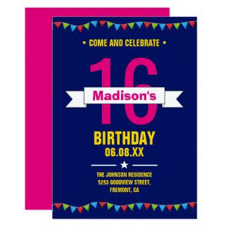Tarjeta La fiesta de cumpleaños moderna del dulce 16 de la