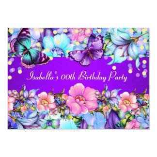 Tarjeta La fiesta de cumpleaños rosada púrpura de la