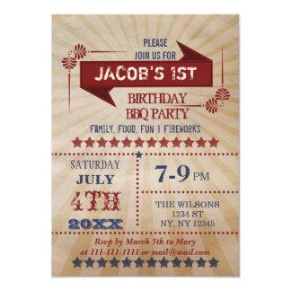 Tarjeta La fiesta de cumpleaños rústica del Memorial Day