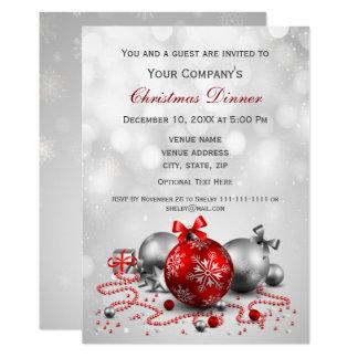 Tarjeta la fiesta de Navidad corporativa festiva de plata