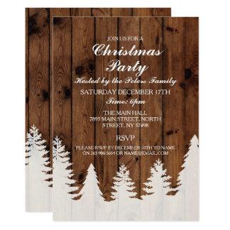 Tarjeta La fiesta de Navidad de madera de los árboles del