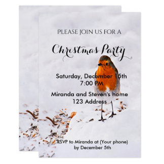 Tarjeta La fiesta de Navidad invita al petirrojo lindo de