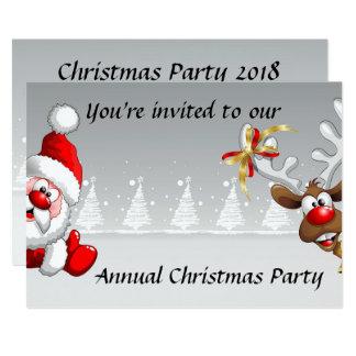Tarjeta La fiesta de Navidad invita con el reno de santa