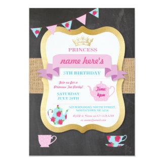 Tarjeta La fiesta del té invita a princesa Crown Alicia