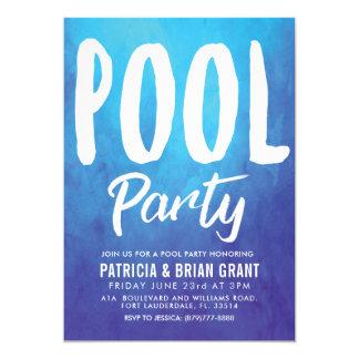 Tarjeta La fiesta en la piscina azul intrépida invita