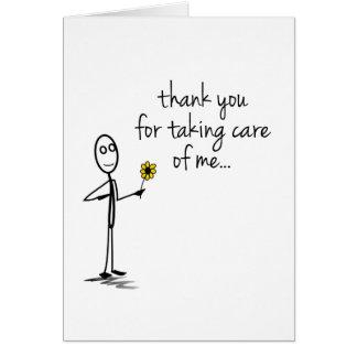 Tarjeta La figura del palillo le agradece cuidar Notecard