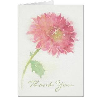 Tarjeta La flor rosada del crisantemo le agradece cardar